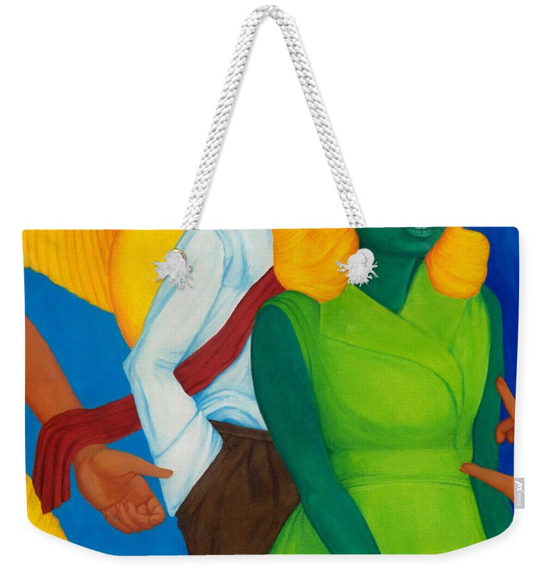 Surreal Weekender Tote Bag featuring the painting Summertime Forgotten Long Ago. by Andrzej Pietal