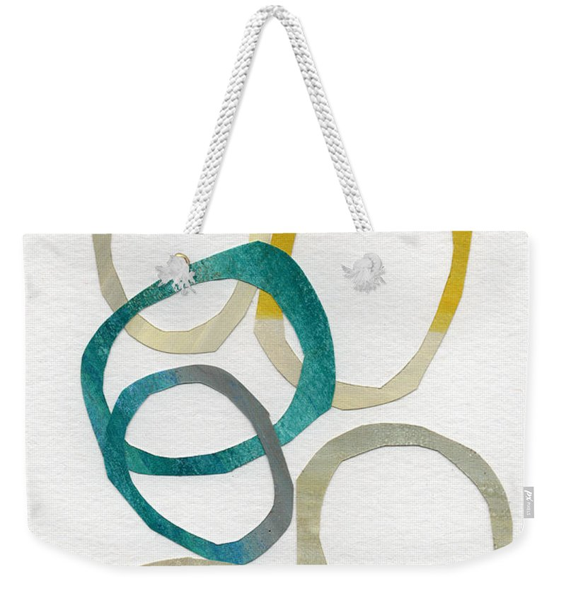 Abstract Art Weekender Tote Bag featuring the mixed media Sun and Sky- abstract art by Linda Woods