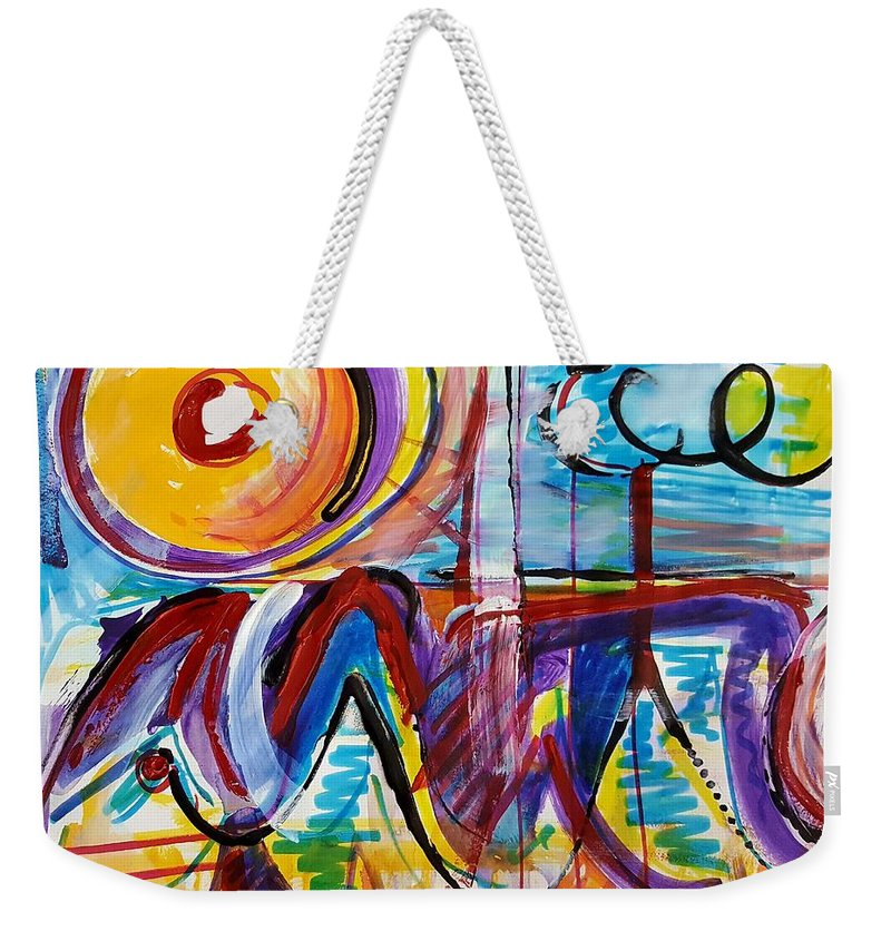Acrylic Painting Weekender Tote Bag featuring the mixed media Sun And Waves by Jane Renzi