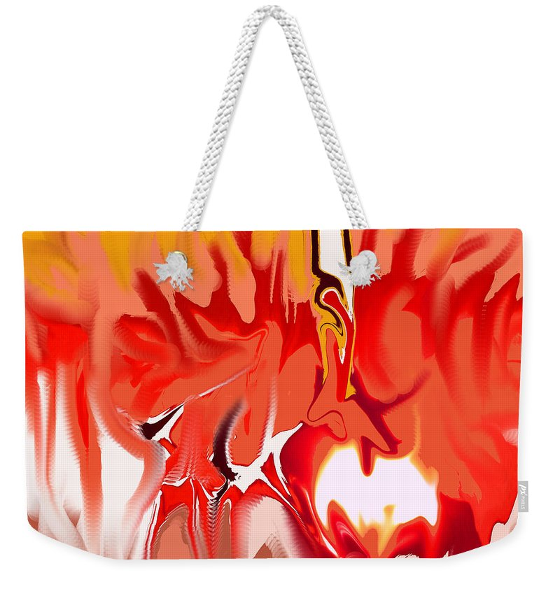 Abstract Weekender Tote Bag featuring the digital art Sun Ball Two by Ian MacDonald