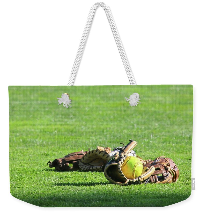 Softball Weekender Tote Bag featuring the photograph Sun Bathing by Laddie Halupa