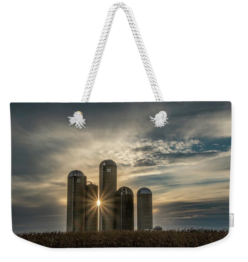 Sun Weekender Tote Bag featuring the photograph Sun Burst Silos by Travis Boyd