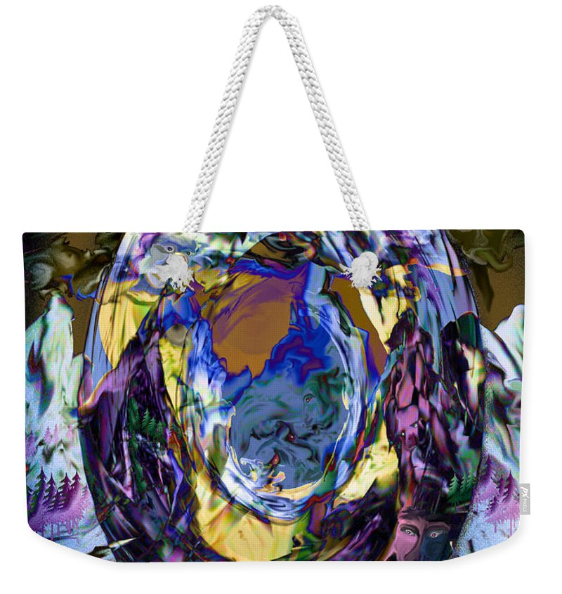 Sun Clouds Faces Mountains Illusion Trees Color People Weekender Tote Bag featuring the digital art Sun Cloud Visions by Andrea Lawrence