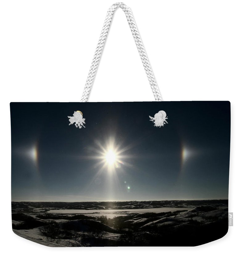 Sun Weekender Tote Bag featuring the digital art Sun Dogs Besides Settig Sun by Mark Duffy