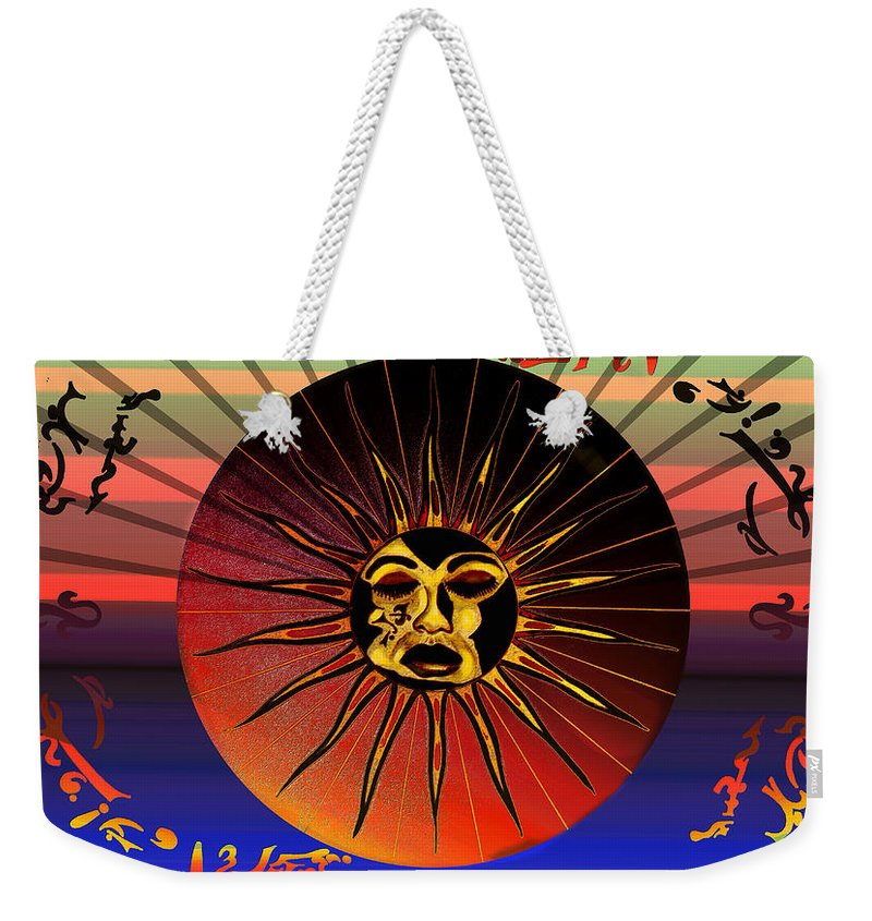 Robert Kernodle Beach Towels Weekender Tote Bag featuring the drawing Sun Face Stylized by Robert G Kernodle