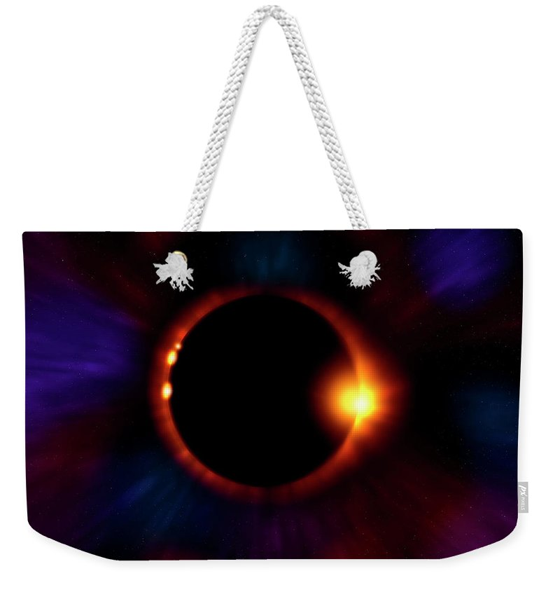 Eclipse Weekender Tote Bag featuring the photograph Sun Fire by Mark Andrew Thomas