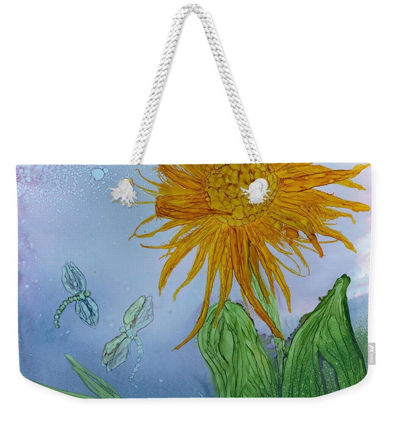 Dragonflies Weekender Tote Bag featuring the painting Sun Flower And Dragonflies At Dusk by Debora Boudreau