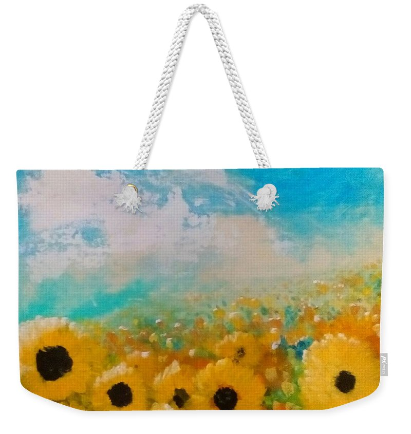 Flowers Weekender Tote Bag featuring the painting Sun flower by J Bauer