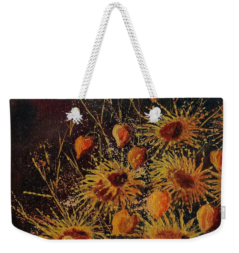 Flowers Weekender Tote Bag featuring the painting Sun Flowers And Physialis by Pol Ledent
