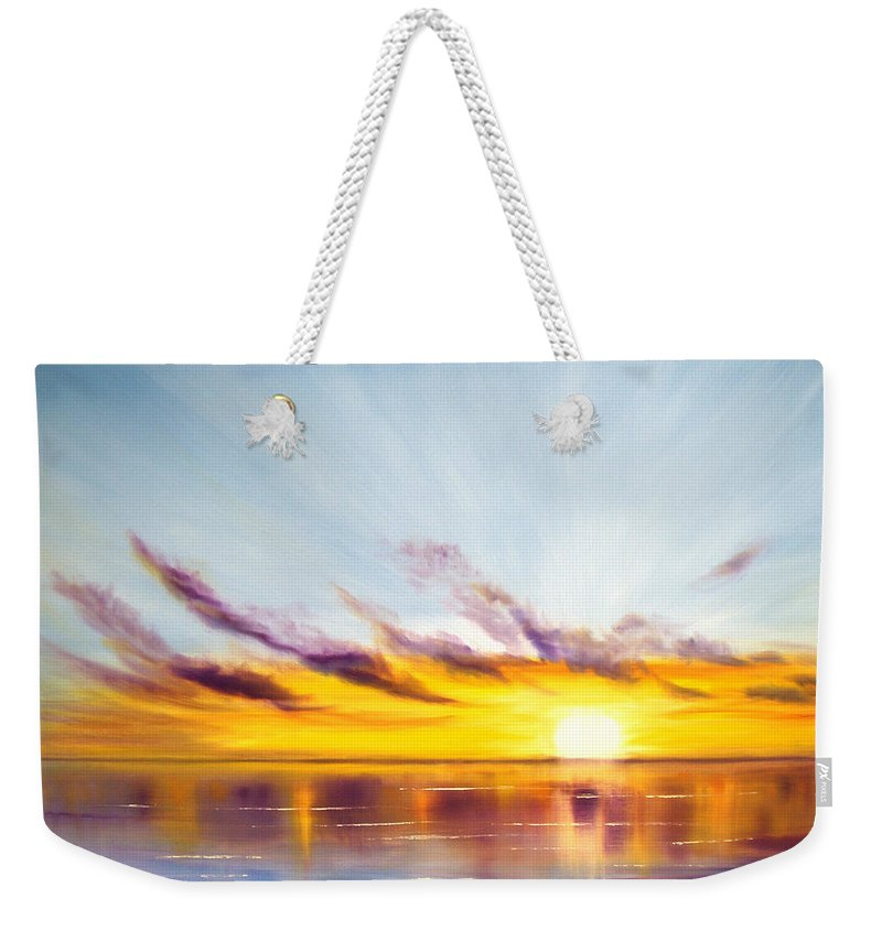 Sunset Original Painting Gold Yellow And Orange Colors Art By Gina De Gorna Colorful Seascape Weekender Tote Bag featuring the painting Sun In A Lake by Gina De Gorna