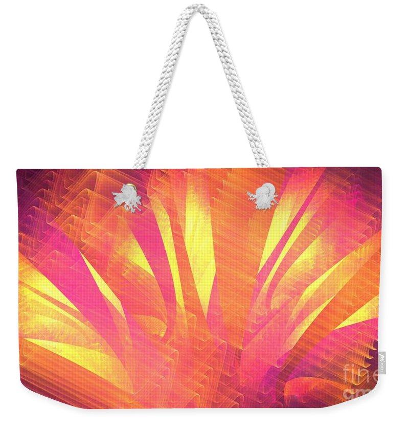 Apophysis Weekender Tote Bag featuring the digital art Sun Leaves by Kim Sy Ok