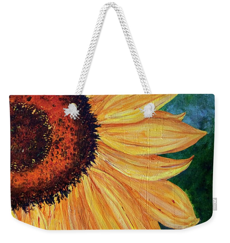 Sunflower Weekender Tote Bag featuring the painting Sun Lover by Sole Avaria