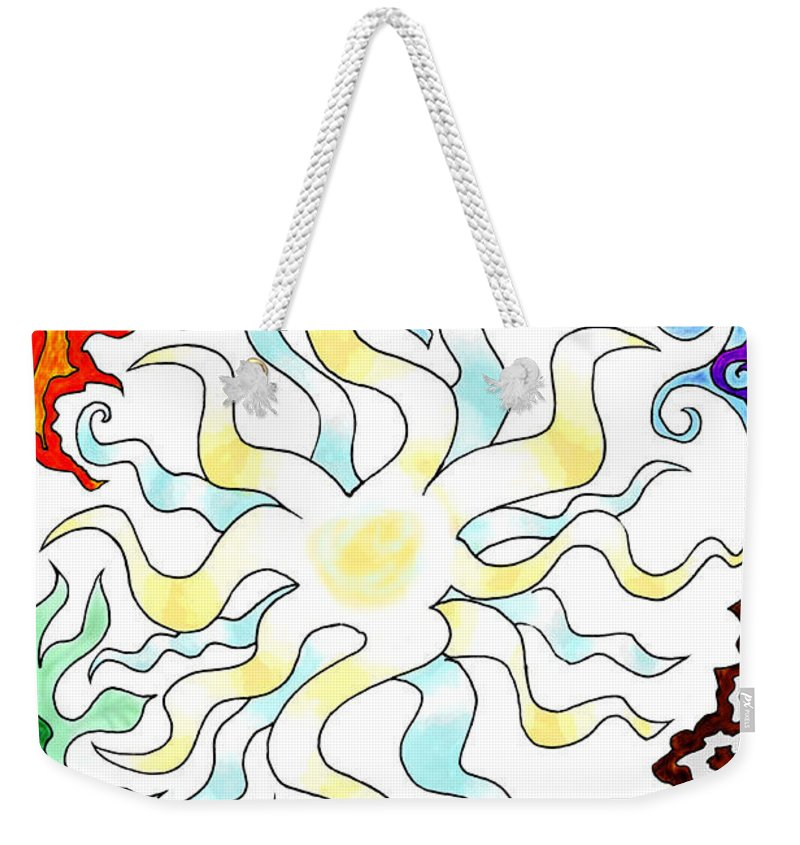 Sun Weekender Tote Bag featuring the digital art Sun Moon And Earth by Karolina Wegrzyn