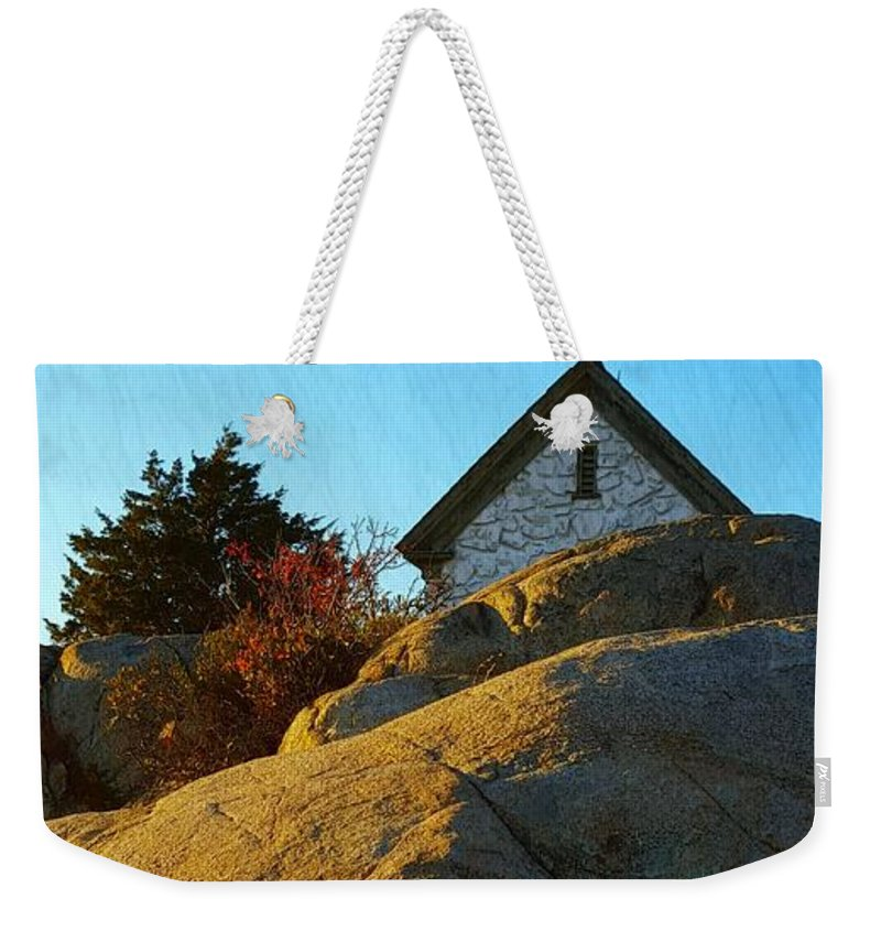 Bright Blue Sky Weekender Tote Bag featuring the photograph Sun On Granite by Harriet Harding