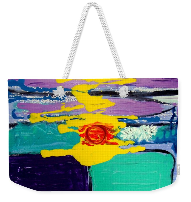 Abstract Expressionism Weekender Tote Bag featuring the painting Sun on Sea by Rusty Gladdish