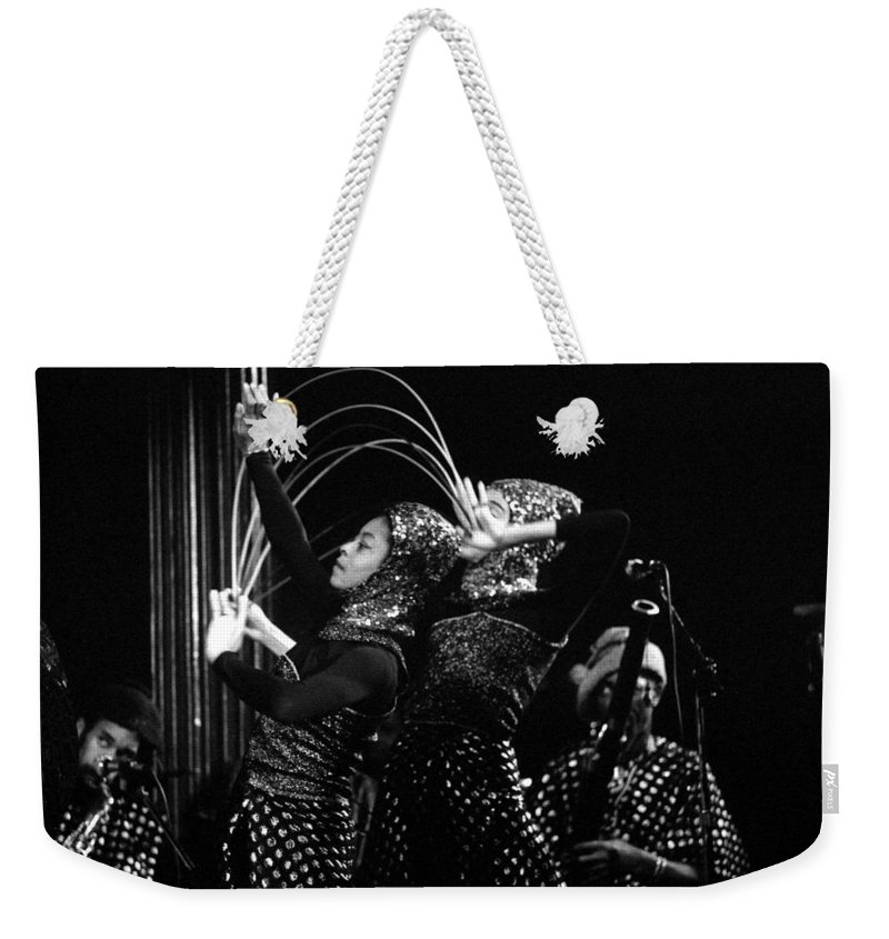 Sun Ra Weekender Tote Bag featuring the photograph Sun Ra Arkestra And Dancers by Lee Santa