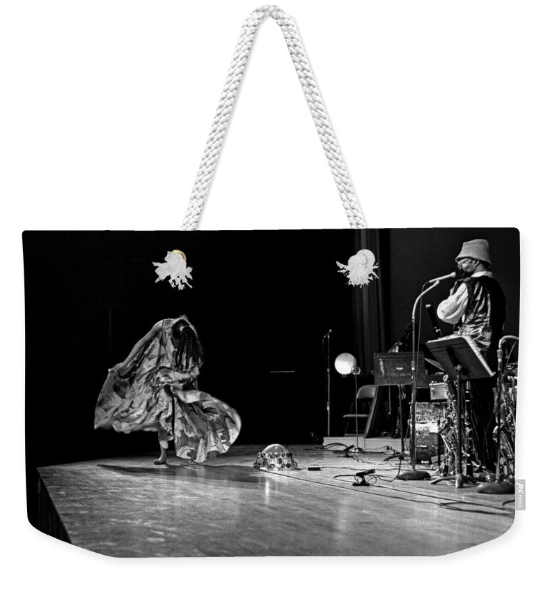 Jazz Weekender Tote Bag featuring the photograph Sun Ra Arkestra At Freeborn Hall by Lee Santa