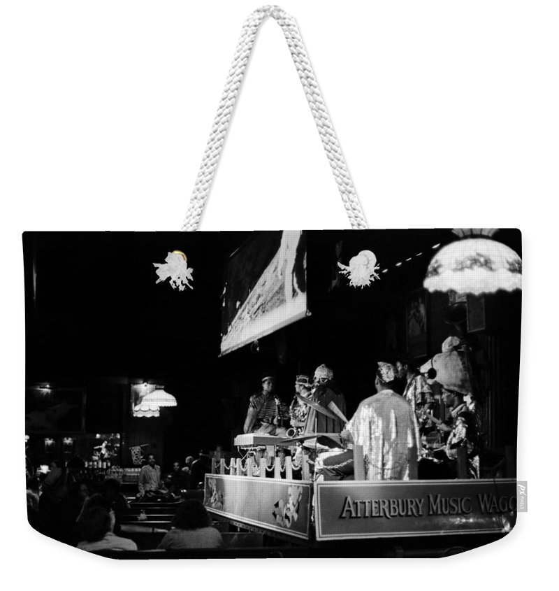 Jazz Weekender Tote Bag featuring the photograph Sun Ra Arkestra At The Red Garter 1970 Nyc 11 by Lee Santa