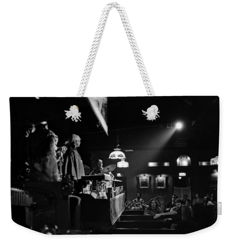 Jazz Weekender Tote Bag featuring the photograph Sun Ra Arkestra At The Red Garter 1970 Nyc 12 by Lee Santa