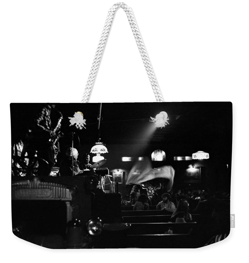 Weekender Tote Bag featuring the photograph Sun Ra Arkestra At The Red Garter 1970 Nyc 17 by Lee Santa