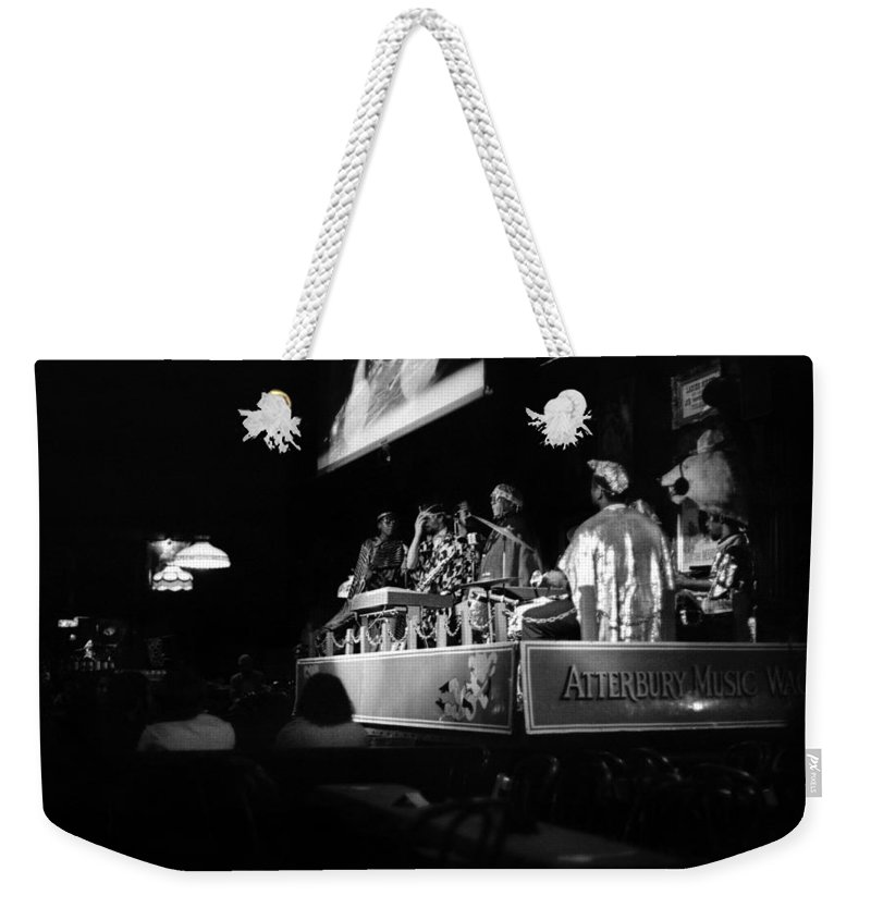 Jazz Weekender Tote Bag featuring the photograph Sun Ra Arkestra At The Red Garter 1970 Nyc 18 by Lee Santa