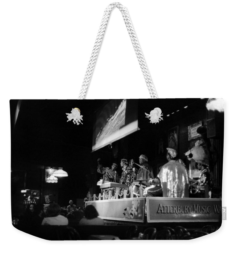 Jazz Weekender Tote Bag featuring the photograph Sun Ra Arkestra At The Red Garter 1970 Nyc 19 by Lee Santa