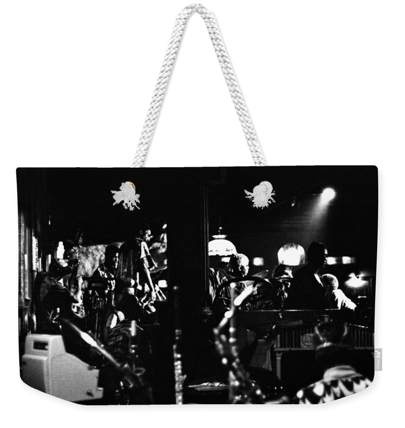 Weekender Tote Bag featuring the photograph Sun Ra Arkestra At The Red Garter 1970 Nyc 2 by Lee Santa