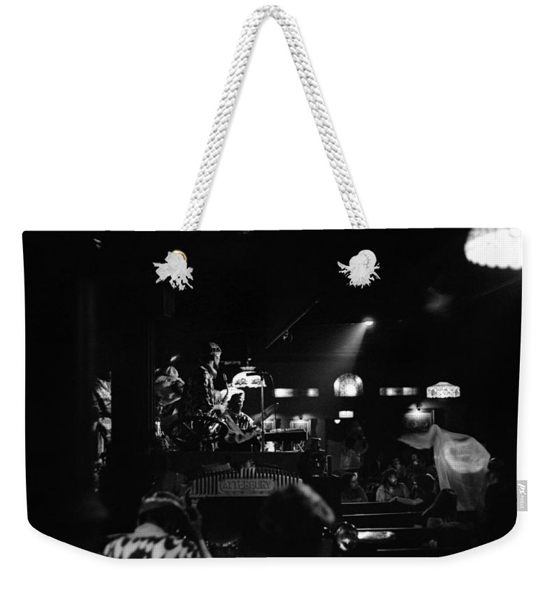 Jazz Weekender Tote Bag featuring the photograph Sun Ra Arkestra At The Red Garter 1970 Nyc 20 by Lee Santa