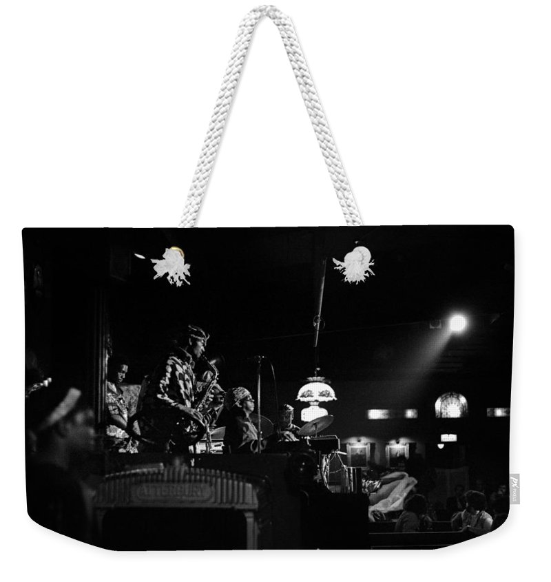 Jazz Weekender Tote Bag featuring the photograph Sun Ra Arkestra At The Red Garter 1970 Nyc 21 by Lee Santa