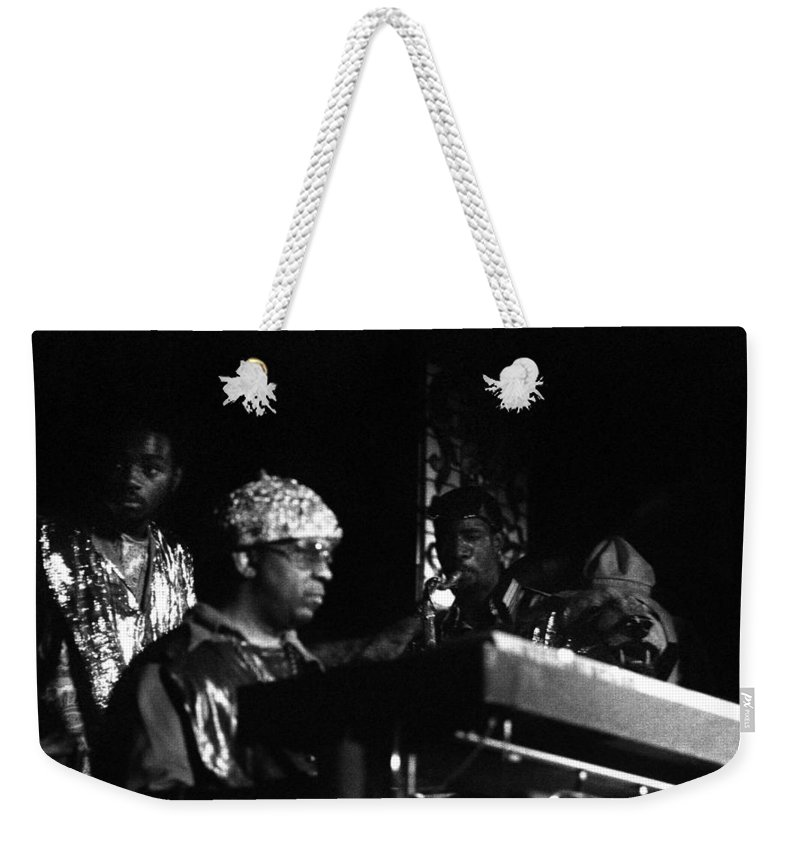 Jazz Weekender Tote Bag featuring the photograph Sun Ra Arkestra At The Red Garter 1970 Nyc 23 by Lee Santa