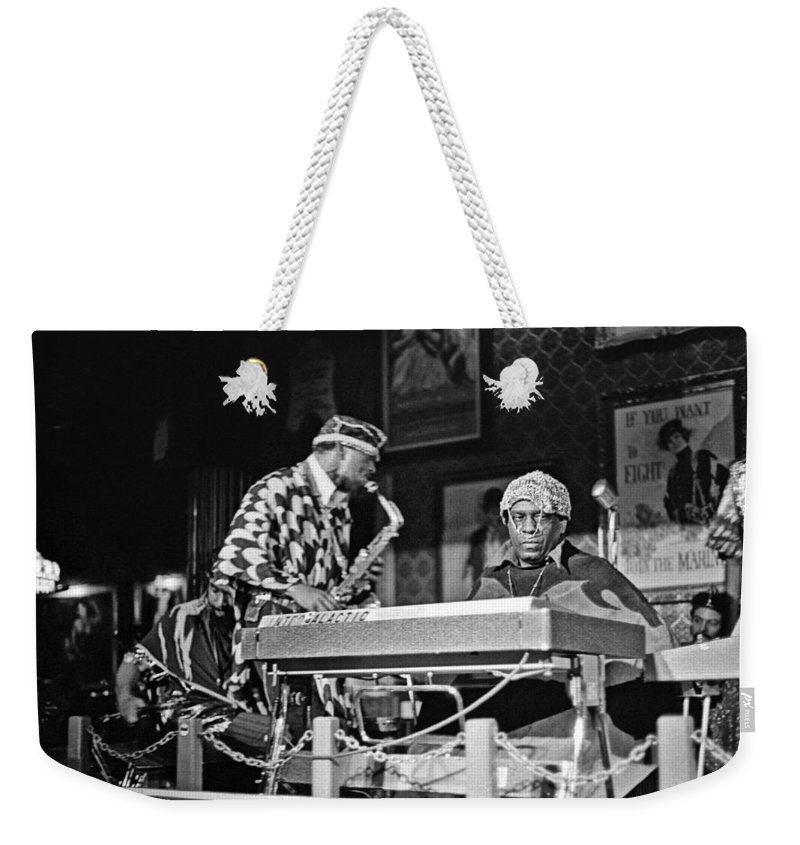 Jazz Weekender Tote Bag featuring the photograph Sun Ra Arkestra At The Red Garter 1970 Nyc 3 by Lee Santa