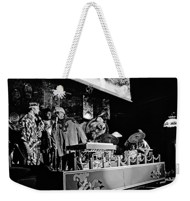 Jazz Weekender Tote Bag featuring the photograph Sun Ra Arkestra At The Red Garter 1970 Nyc 5 by Lee Santa