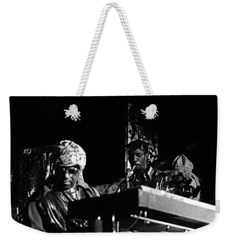 Jazz Weekender Tote Bag featuring the photograph Sun Ra Arkestra At The Red Garter 1970 Nyc 7 by Lee Santa