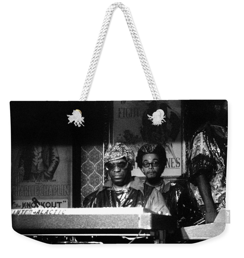 Jazz Weekender Tote Bag featuring the photograph Sun Ra Arkestra At The Red Garter 1970 Nyc 8 by Lee Santa