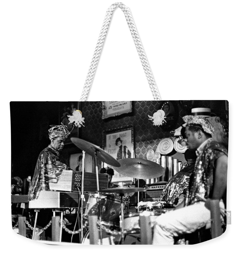 Jazz Weekender Tote Bag featuring the photograph Sun Ra Arkestra At The Red Garter 1970 Nyc 9 by Lee Santa