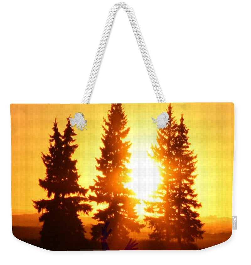 Sun Sorceress Goddess Worship Worshiper Trees Sunrise Sunset Angel Spirit Weekender Tote Bag featuring the photograph Sun Sorceress by Andrea Lawrence
