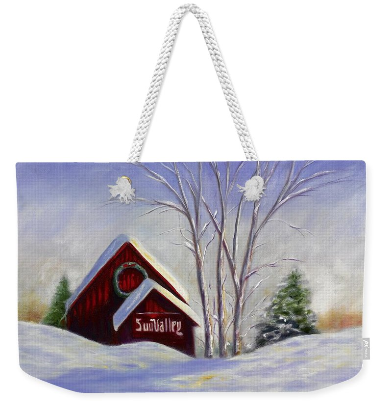 Landscape White Weekender Tote Bag featuring the painting Sun Valley 1 by Shannon Grissom