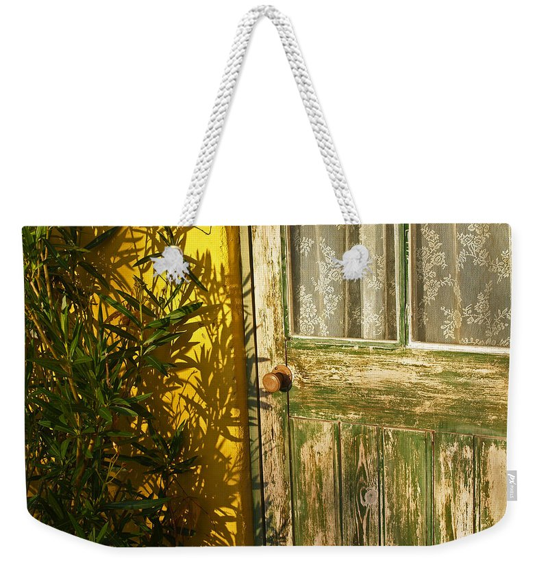 Door Weekender Tote Bag featuring the photograph Sun Warmed And Weathered by Bel Menpes