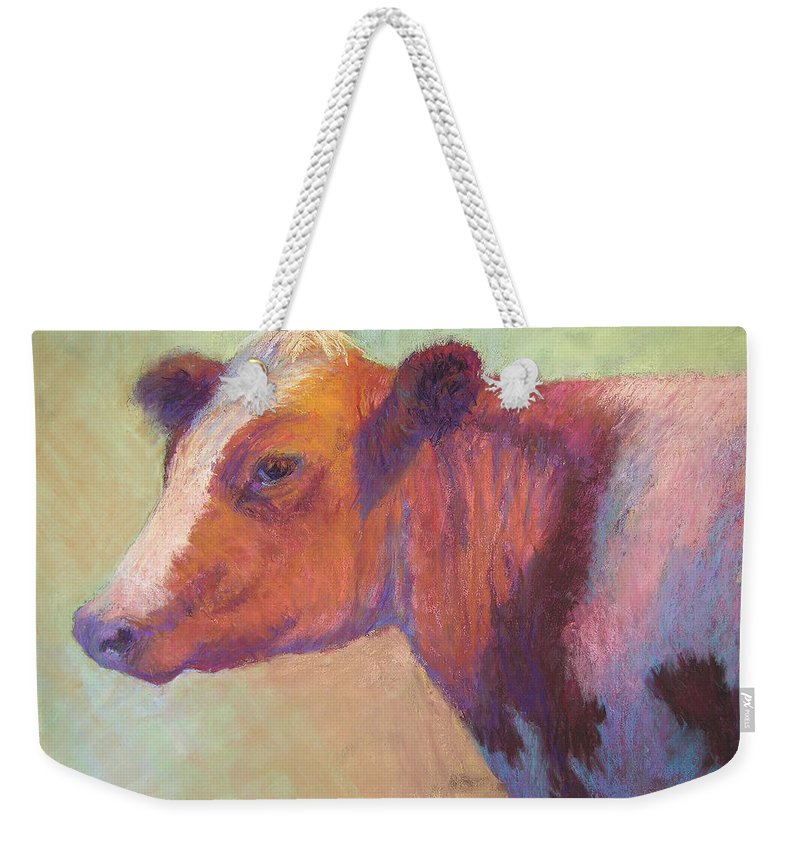 Farm Animals Weekender Tote Bag featuring the painting Sunbather by Susan Williamson