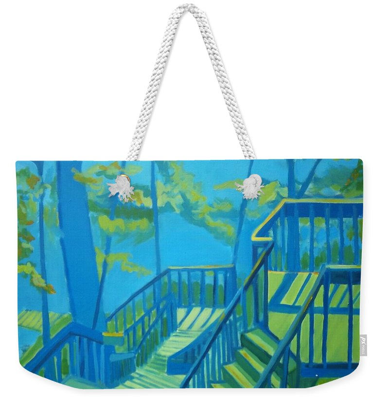 New Hampshire Weekender Tote Bag featuring the painting Suncook Stairwell by Debra Bretton Robinson