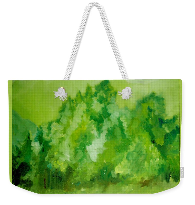 Spring Weekender Tote Bag featuring the painting Sunday At Two Thirty by Seth Weaver