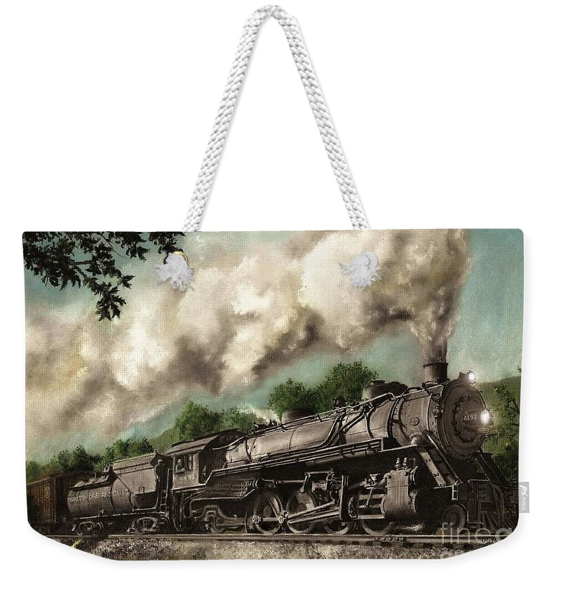 Baltimore & Ohio Railroad B&o Q4 Train Painting Railroad Maryland And Pennsylvania Autumn Fall Colors Steam Engine Weekender Tote Bag featuring the painting Sunday Drive by David Mittner