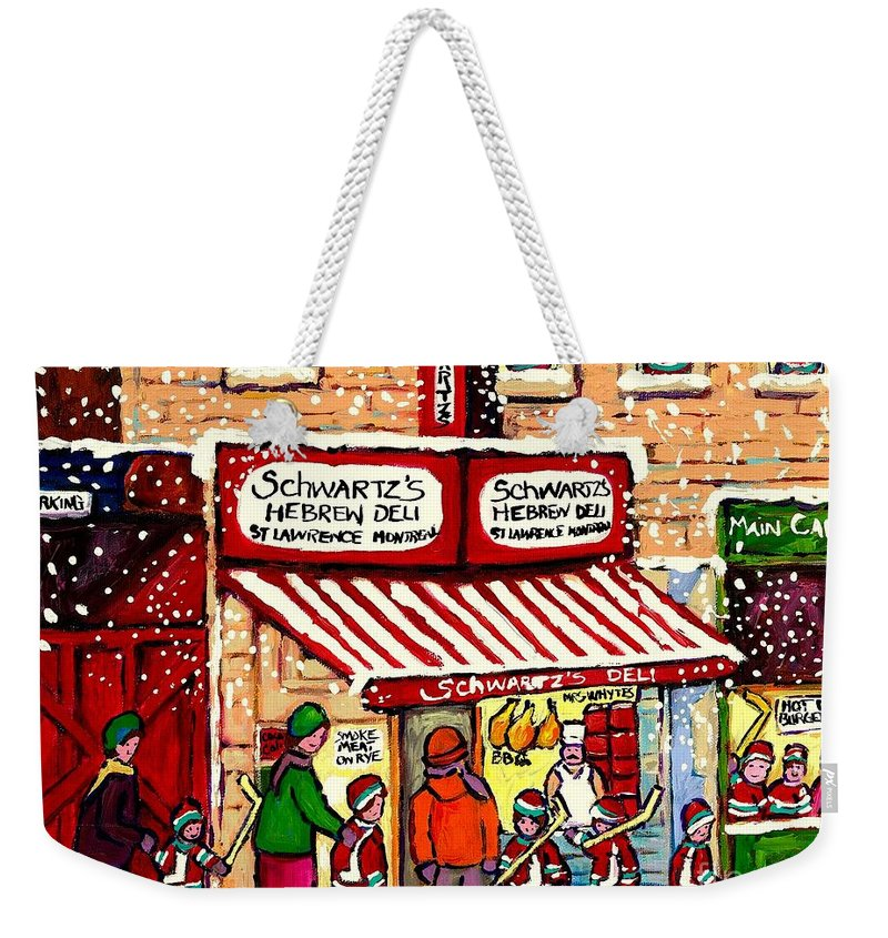 Montreal Weekender Tote Bag featuring the painting Sunday Lineup At The Deli by Carole Spandau