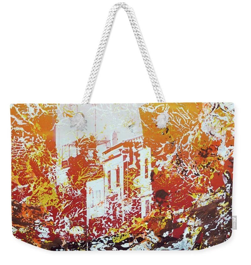 Sundown Weekender Tote Bag featuring the mixed media Sundown Abstraction 2 by Nica Art Studio