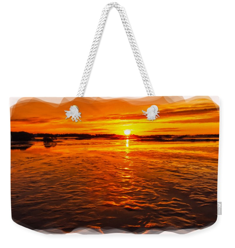 Sky Weekender Tote Bag featuring the photograph Sundown At Low Tide 2 by John M Bailey