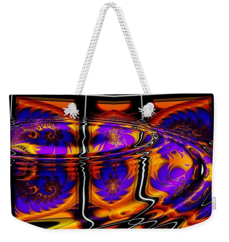 Orange Weekender Tote Bag featuring the digital art Sundown by Robert Orinski