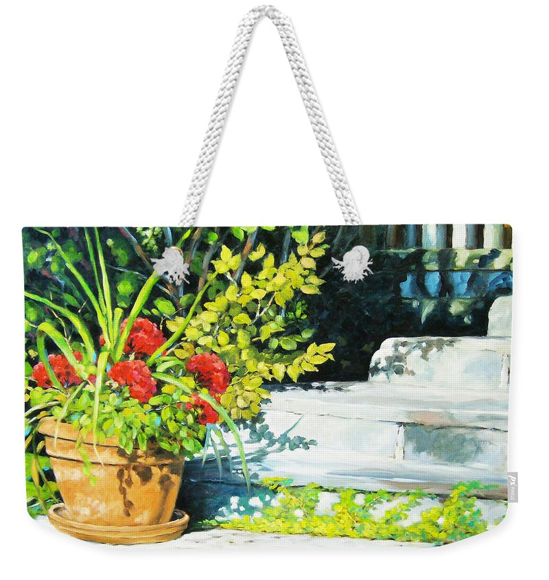 Art Weekender Tote Bag featuring the painting Sunfilled Steps 01 by Richard T Pranke