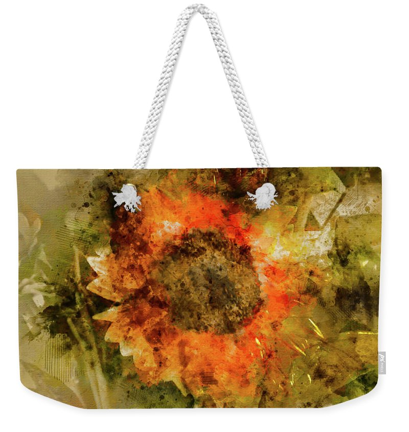 Vertical Weekender Tote Bag featuring the digital art Sunflower Abstract by Robert Meyerson