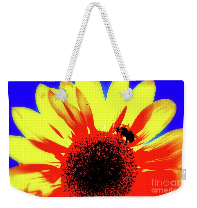 Sunflower Weekender Tote Bag featuring the photograph Sunflower Abstract by Yvette Wilson