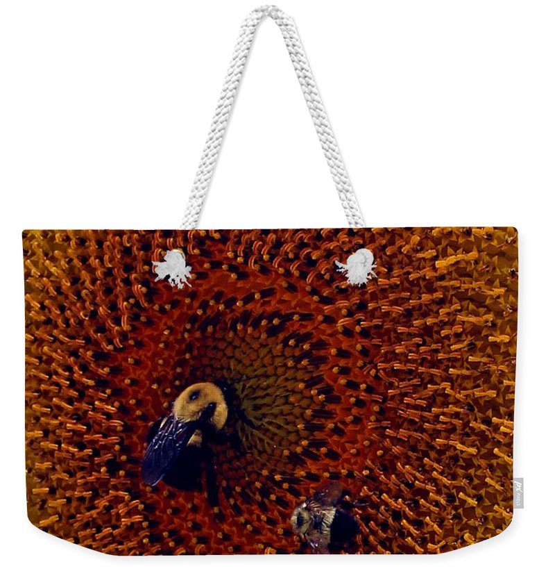 Insect Weekender Tote Bag featuring the photograph Sunflower And Bees by Jennifer Robin